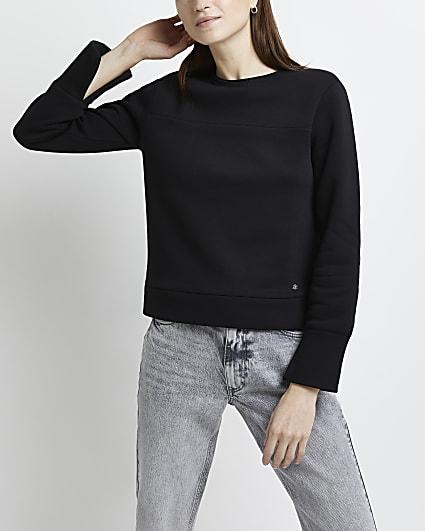 Black RI embroidered shoulder pad sweatshirt