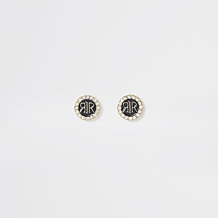 Black RI enamel stud diamante earrings