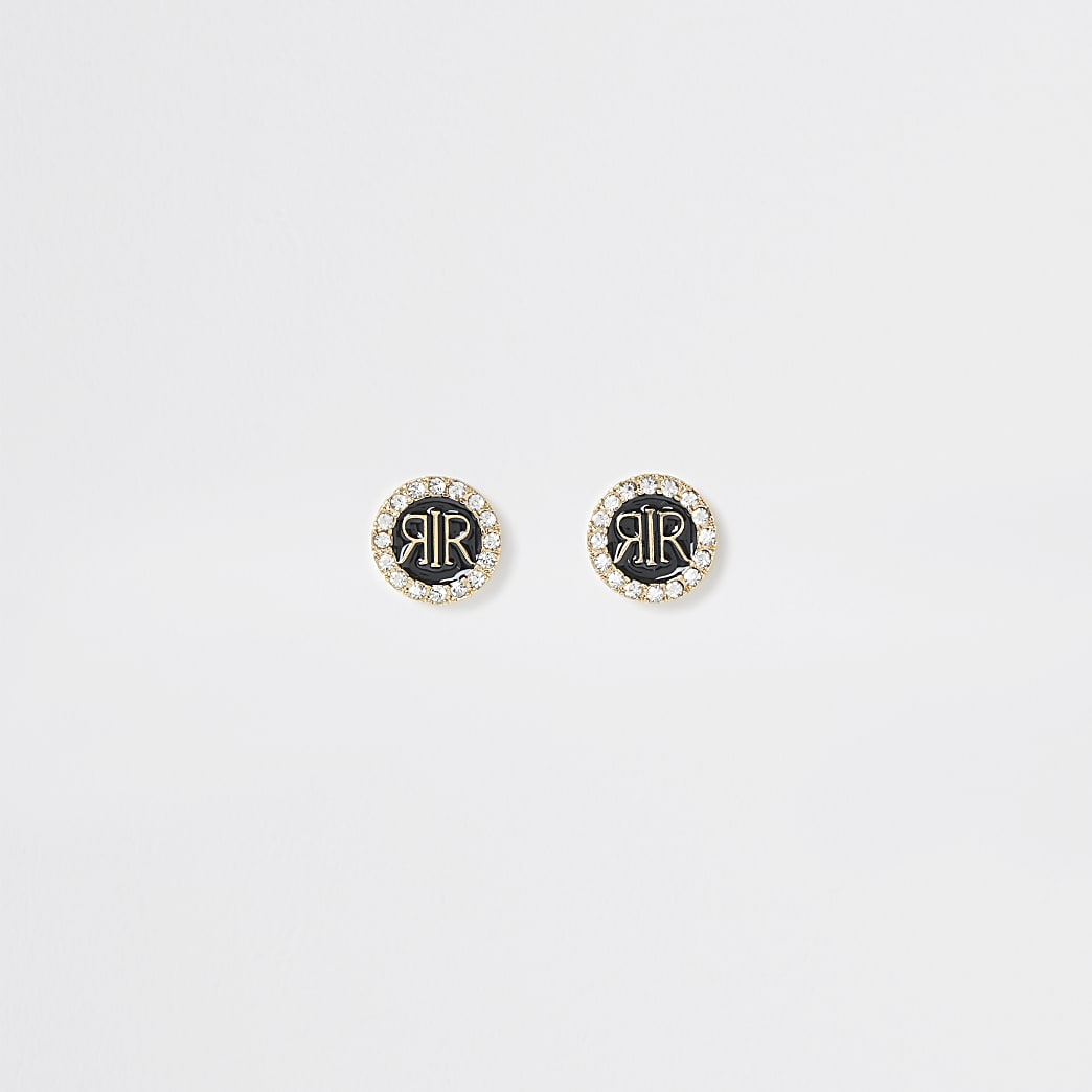 Black RI enamel stud diamante earrings