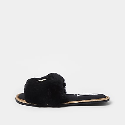 Black RI faux fur open toe slippers