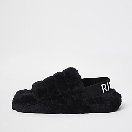 Black RI faux fur slippers