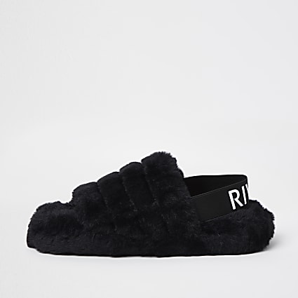 Black RI faux fur slippers
