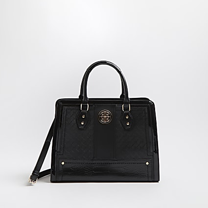Black RI faux leather boxy tote bag