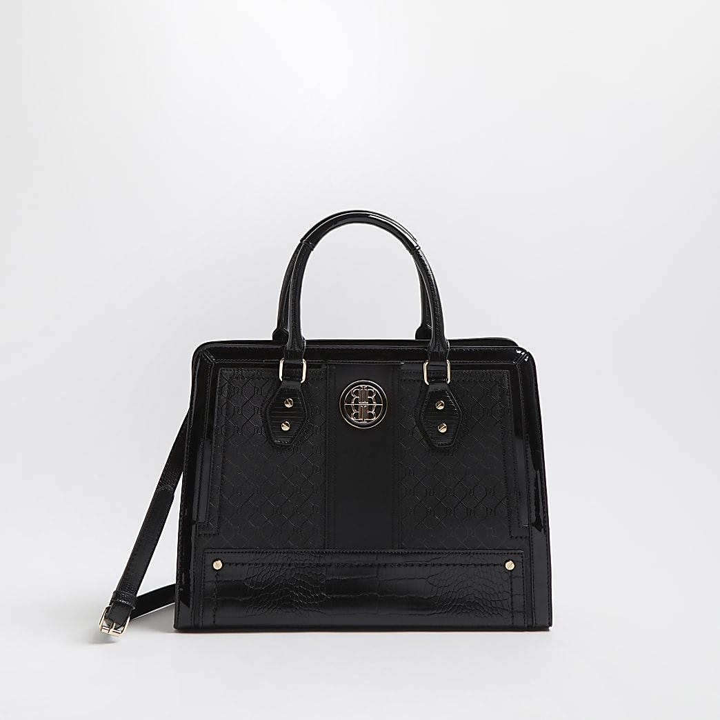 Black RI faux leather boxy tote bag