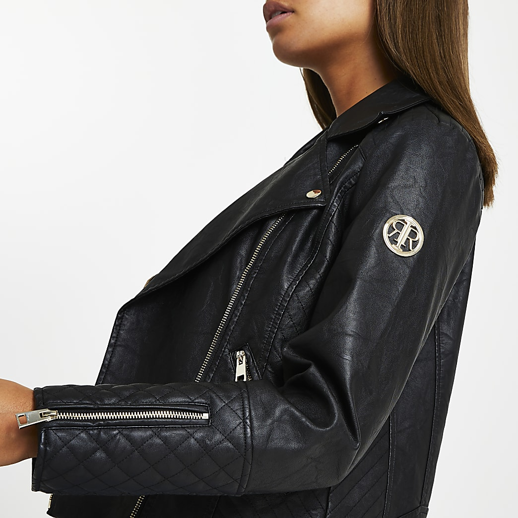 Black RI faux leather quilted biker jacket