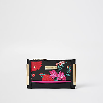 Black RI floral print mini foldout purse