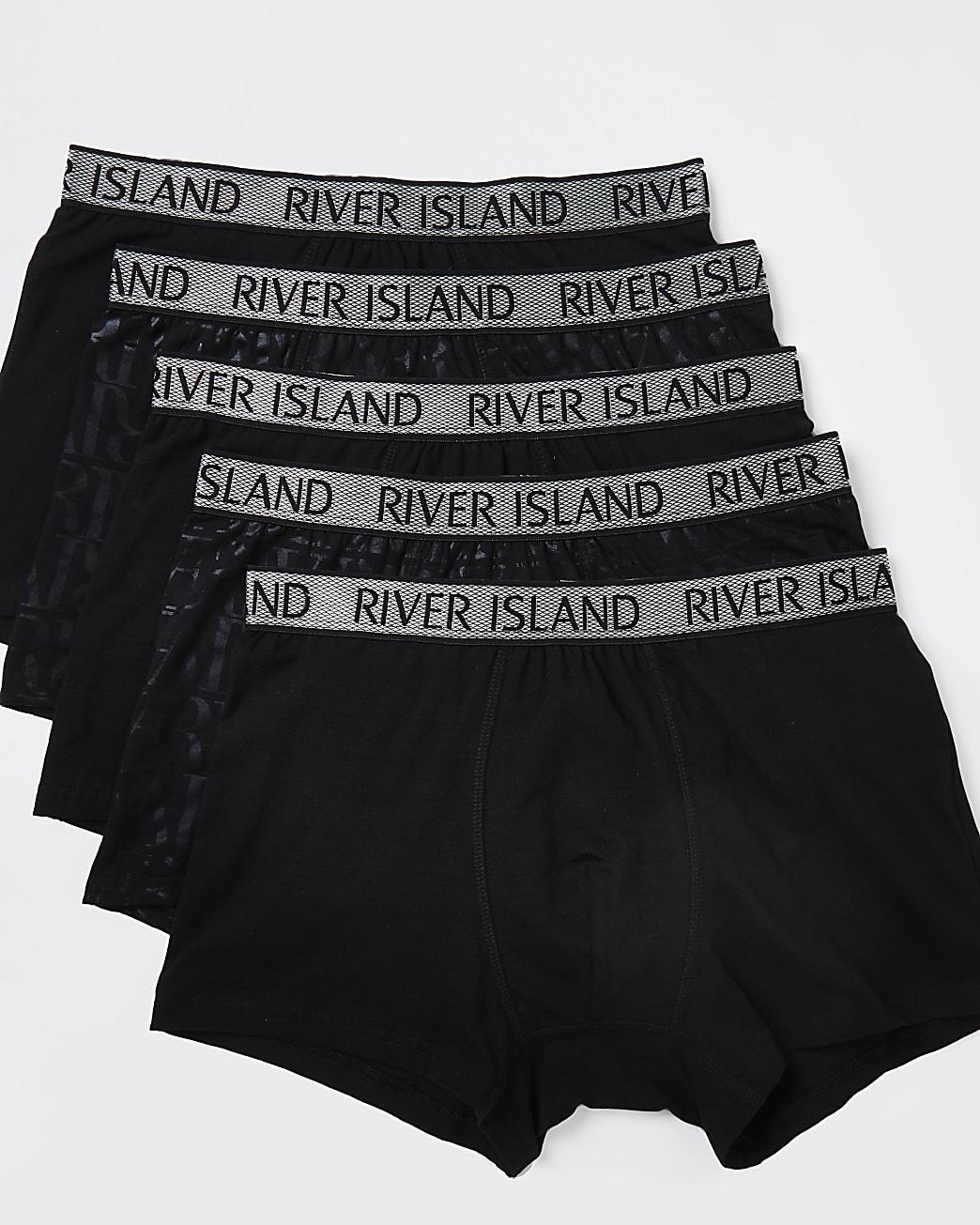 Black RI foil monogram trunks 5 pack