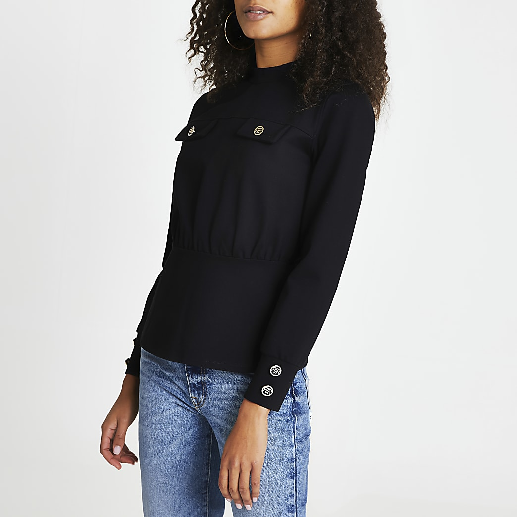 Black RI gold button detail top