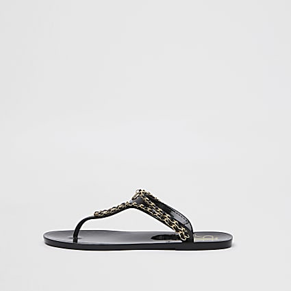 Black RI gold chain jelly sandal