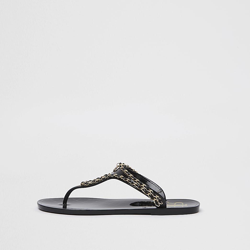 Black RI gold chain jelly sandal