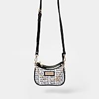 Black RI graphic scoop mini shoulder bag