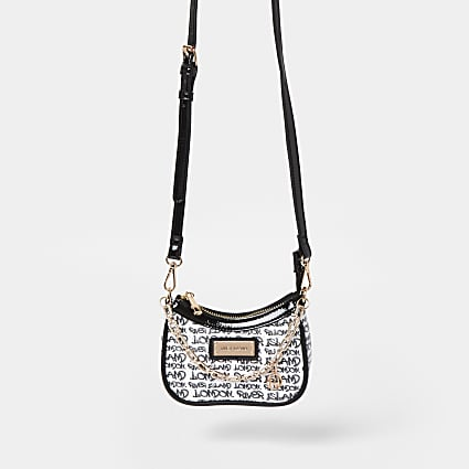 Black RI graphic scoop mini shoulder bag