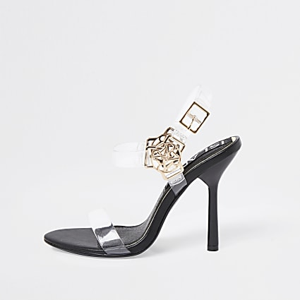 Black RI harness perspex high heel sandals