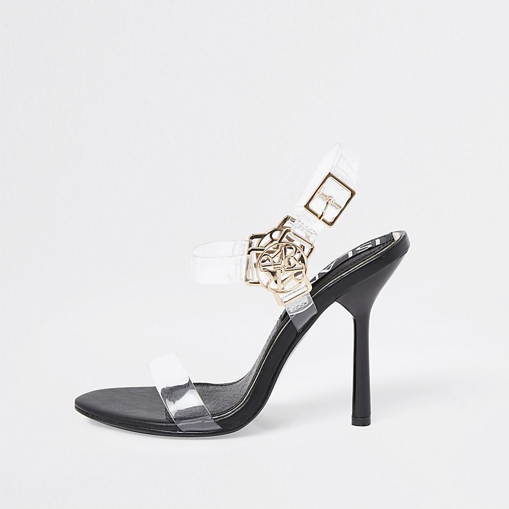 Black RI harness perspex high heel sandals