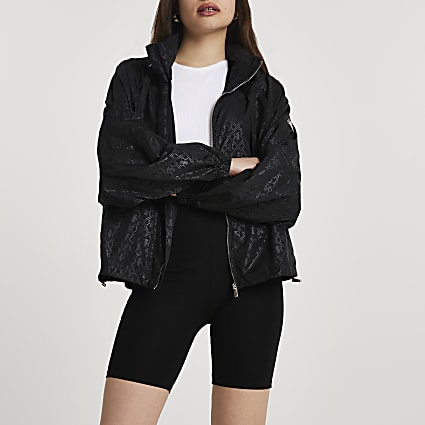 Black RI hooded windbreaker jacket