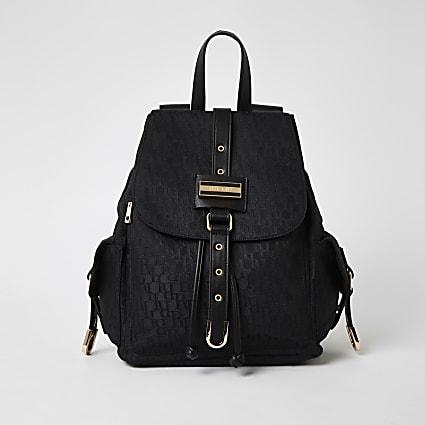 Black RI jacquard lock front backpack