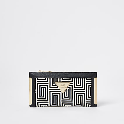 Black RI jacquard monogram purse