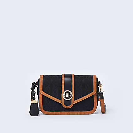 Black RI jacquard satchel bag