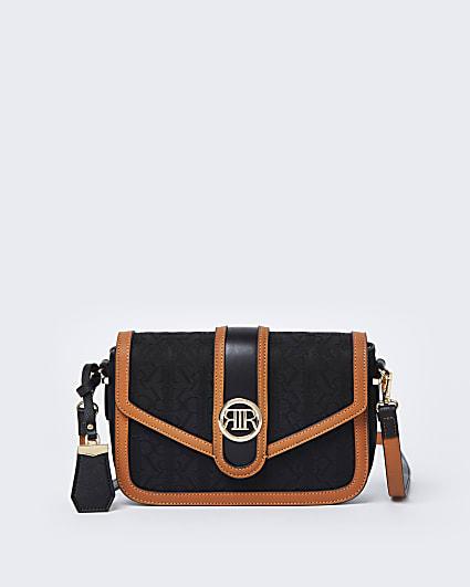 Black RI jacquard satchel bag