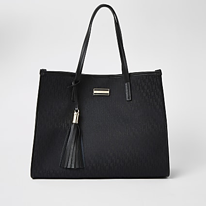 Black RI jacquard shopper tote bag
