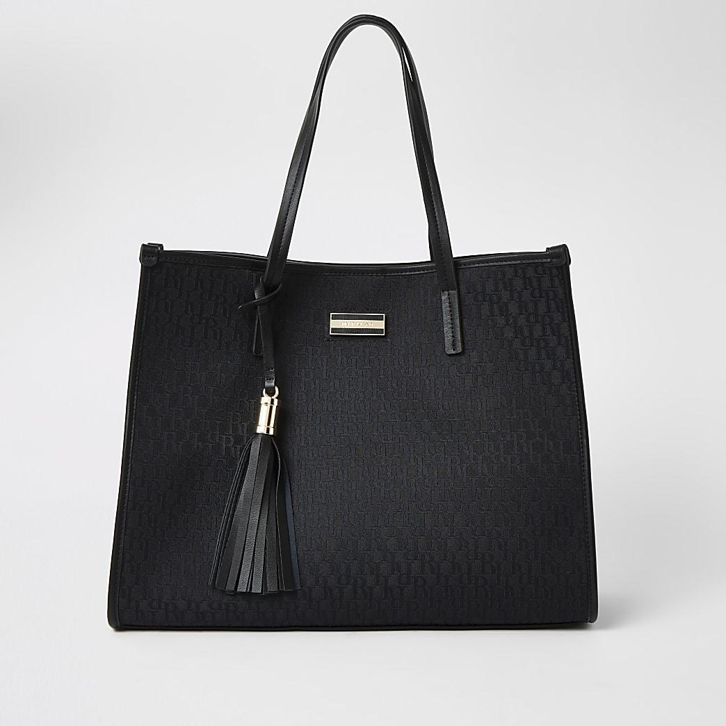 Black RI jacquard shopper tote bag