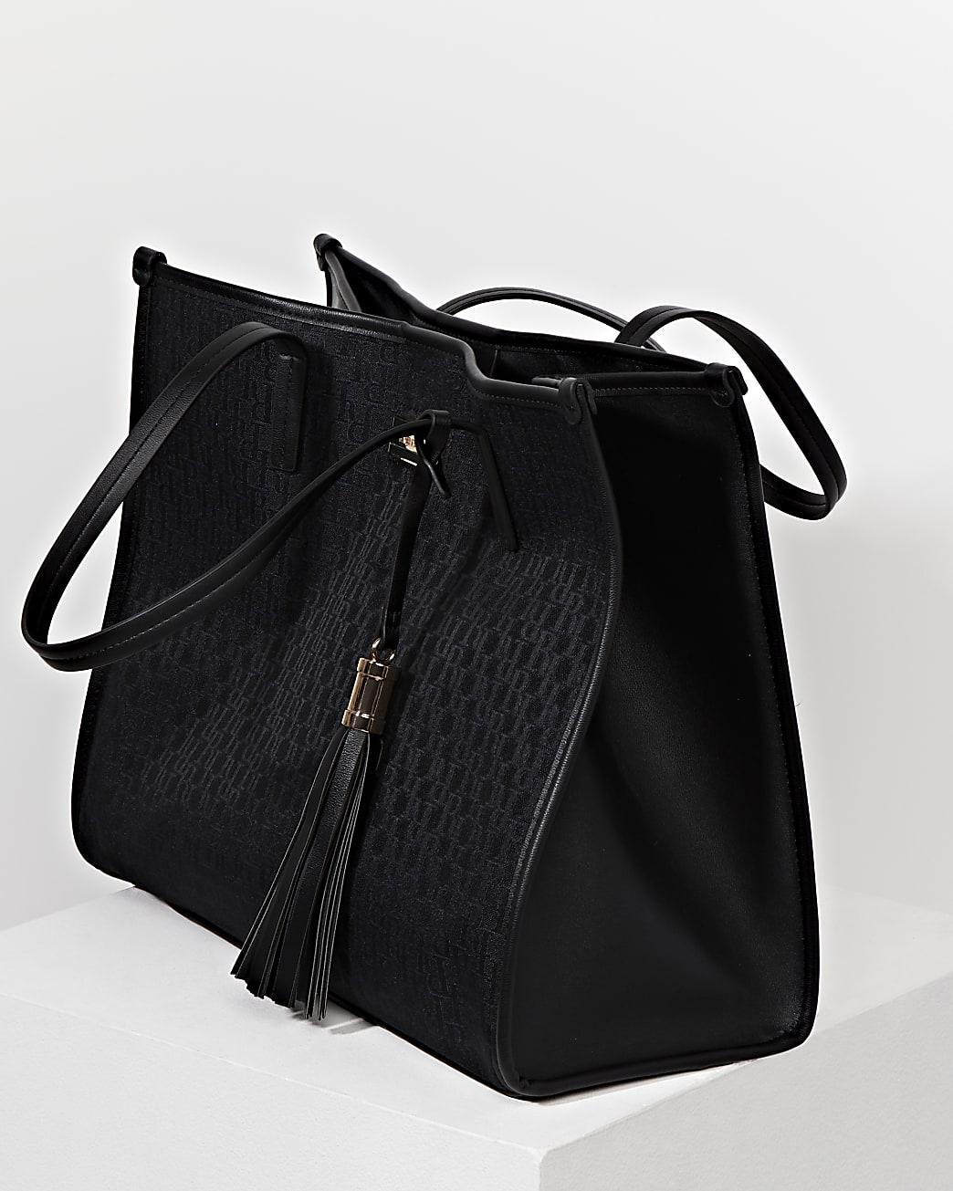 Black RI jacquard square shopper bag
