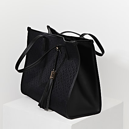 Black RI jacquard square shopper bag