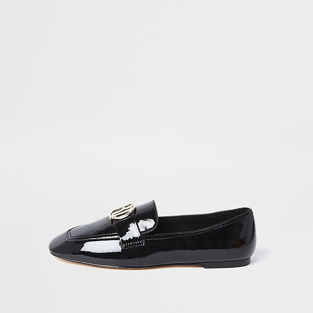 Black RI logo loafers