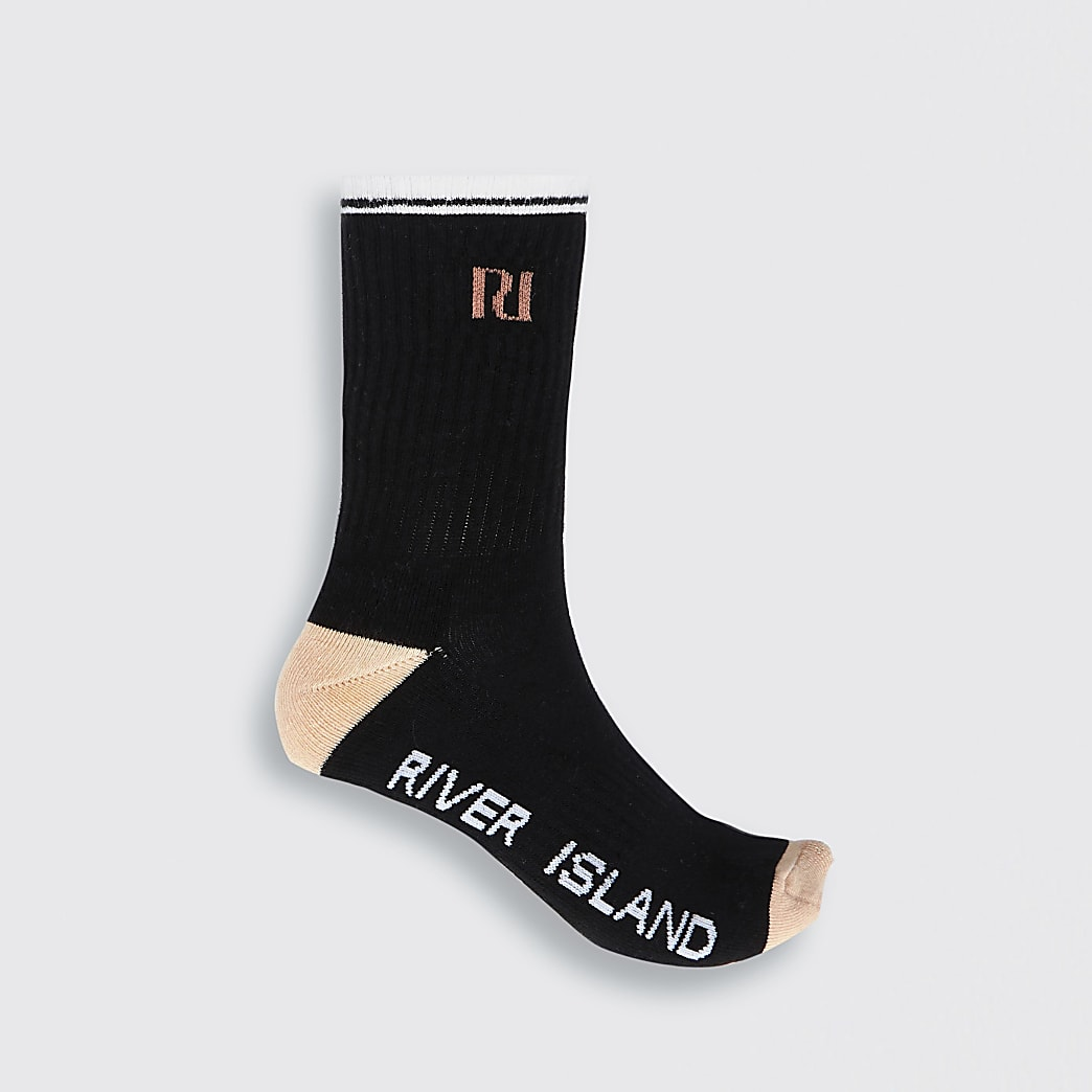 Black RI logo tube sports sock