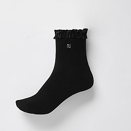 Black RI mesh frill cable knit socks
