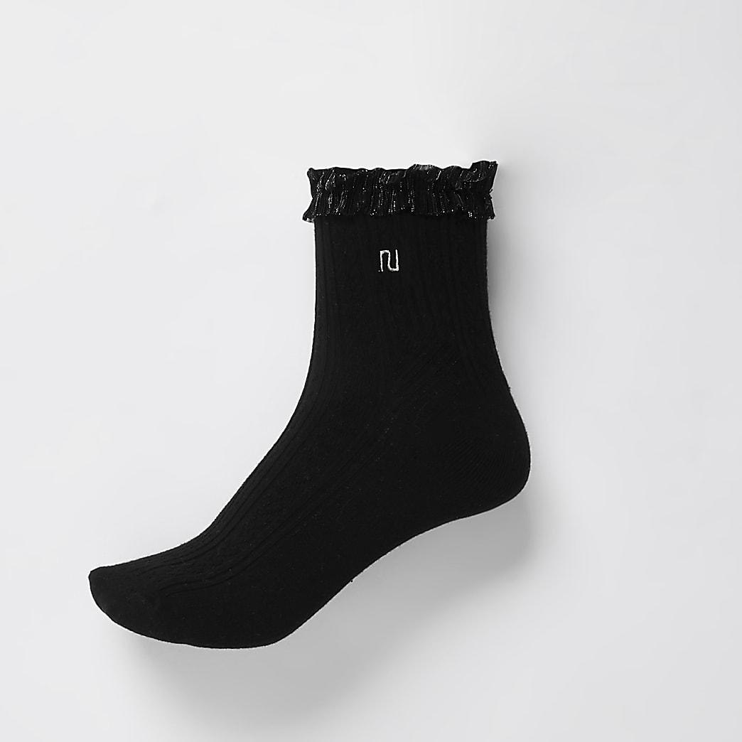 Black RI mesh frill cable knit socks