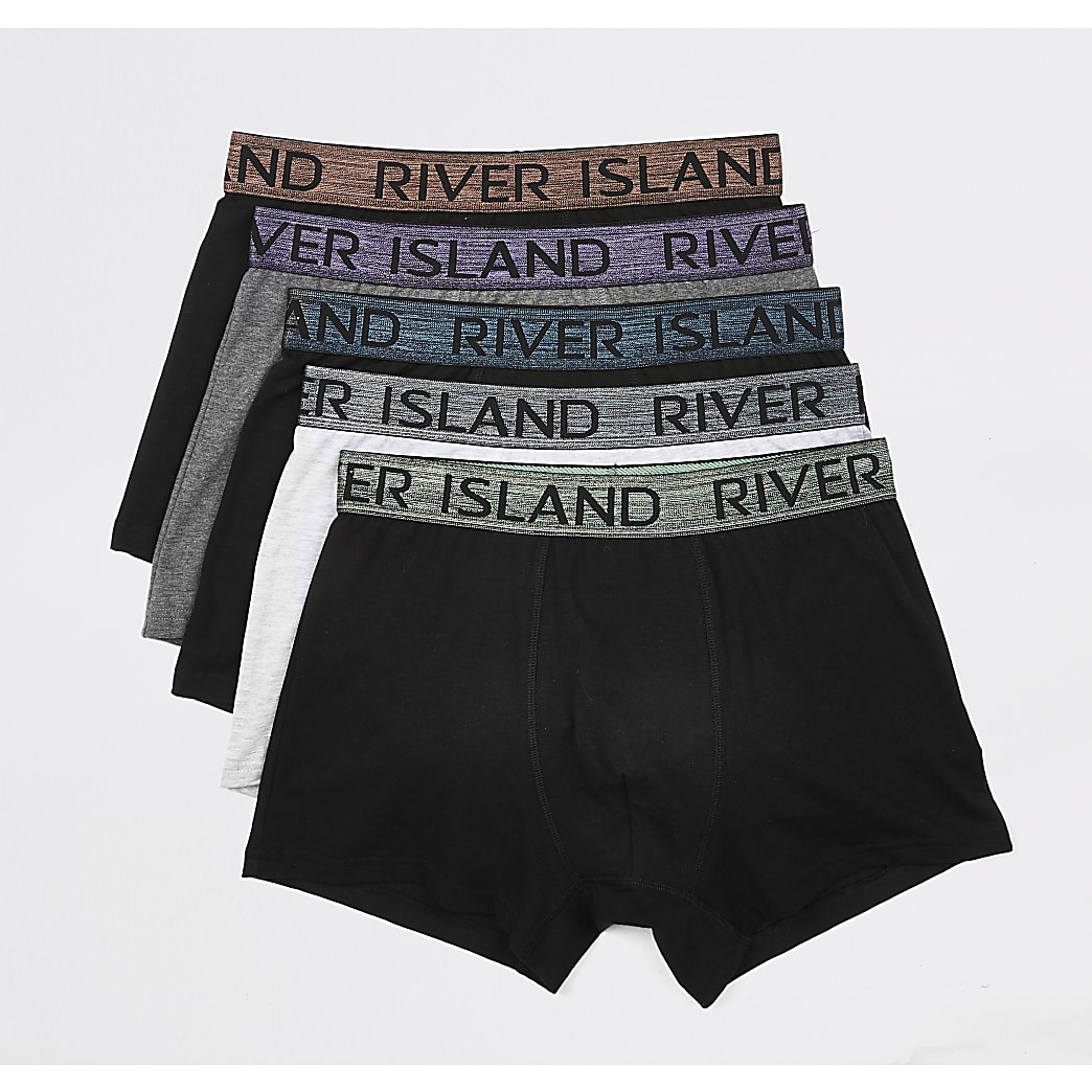 Black RI metallic waistband trunks 5 pack