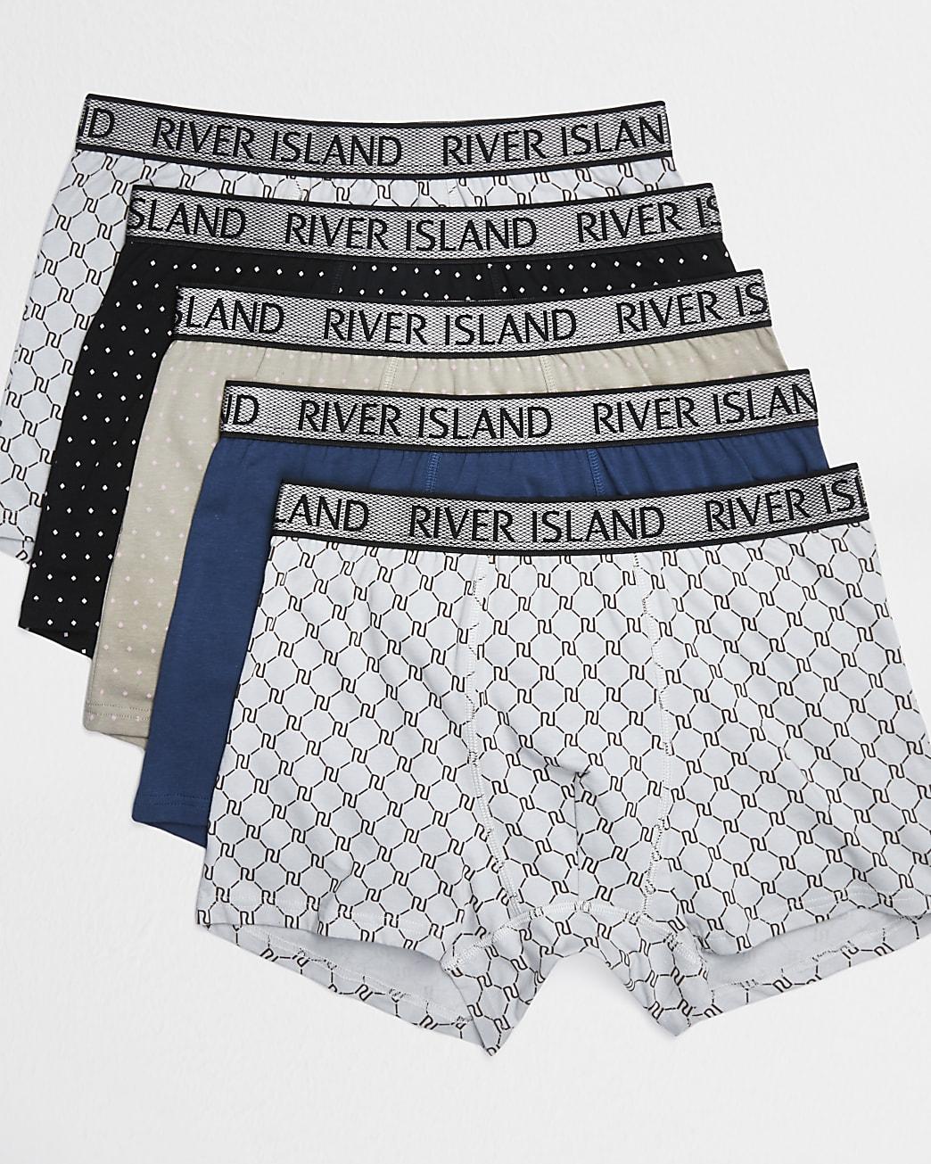 Black RI mixed print boxers 5 pack