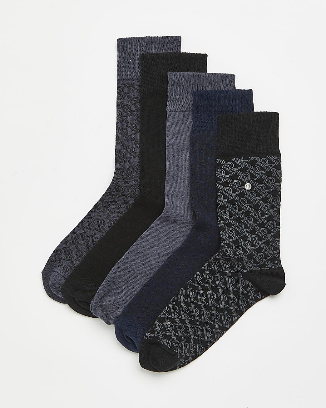 Black RI monogram ankle socks 5 pack gift set