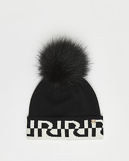 Black RI monogram beanie hat