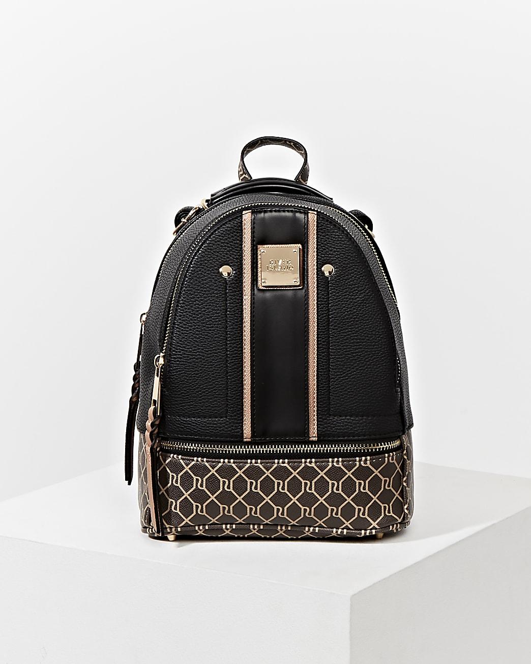 Black RI monogram blocked backpack