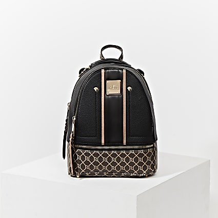 Black RI monogram blocked backpack