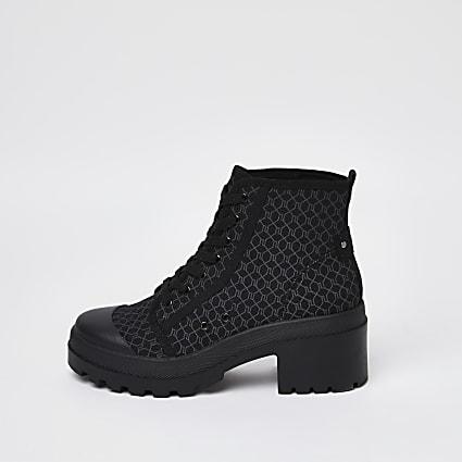 Black RI monogram canvas lace up ankle boots