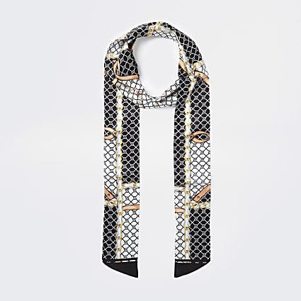 Black RI monogram chain print skinny scarf