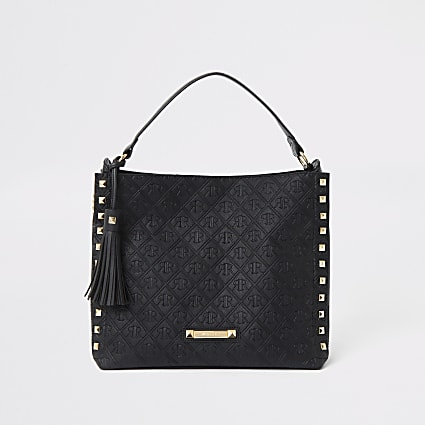 Black RI monogram chain slouch bag