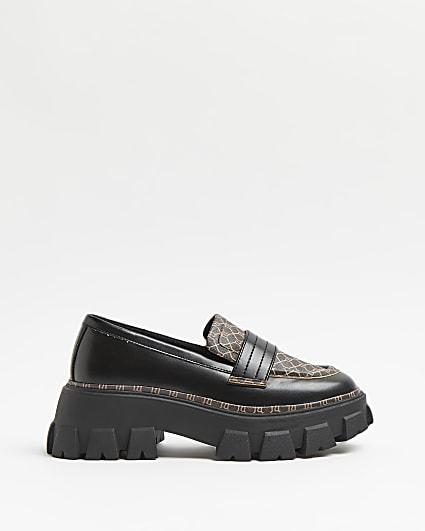 Black RI monogram chunky loafers
