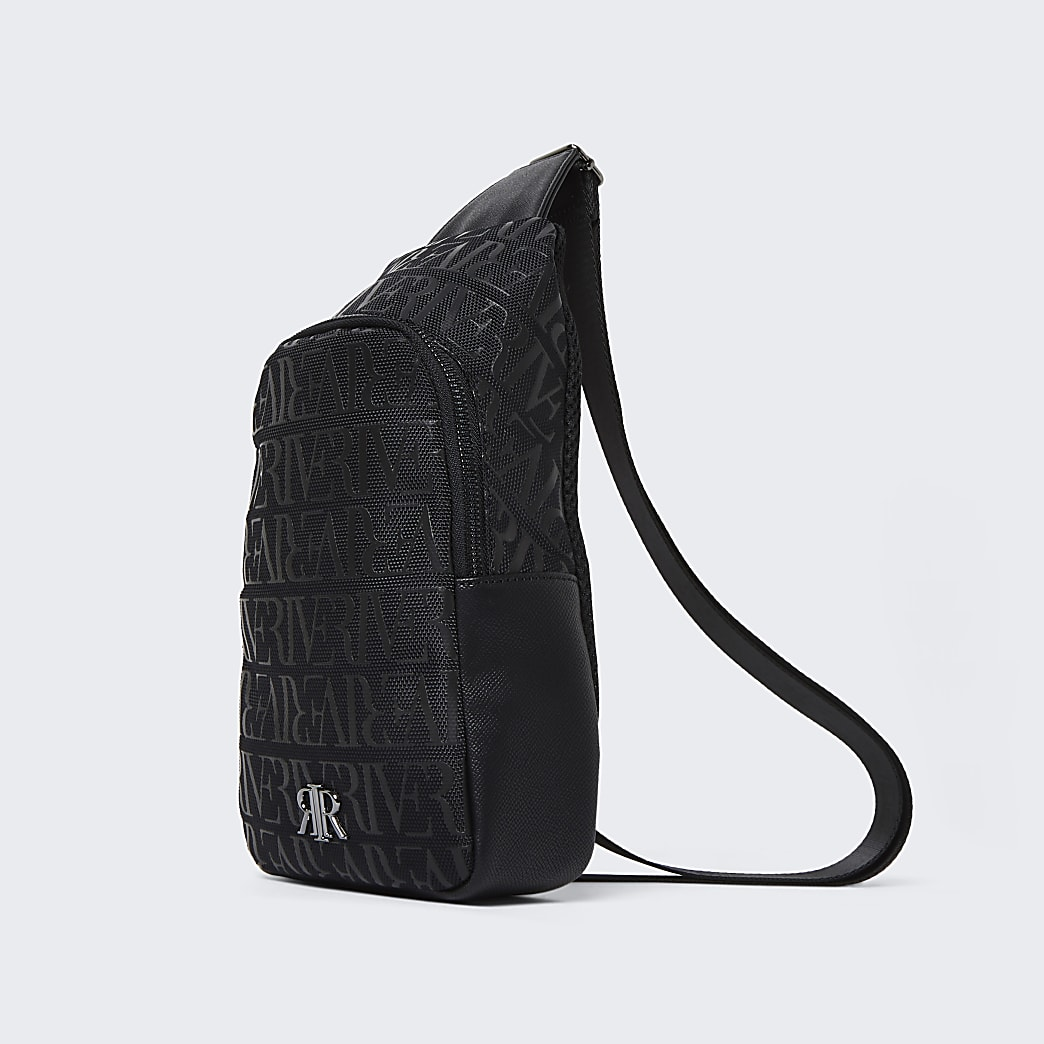 Black RI monogram commuter bag