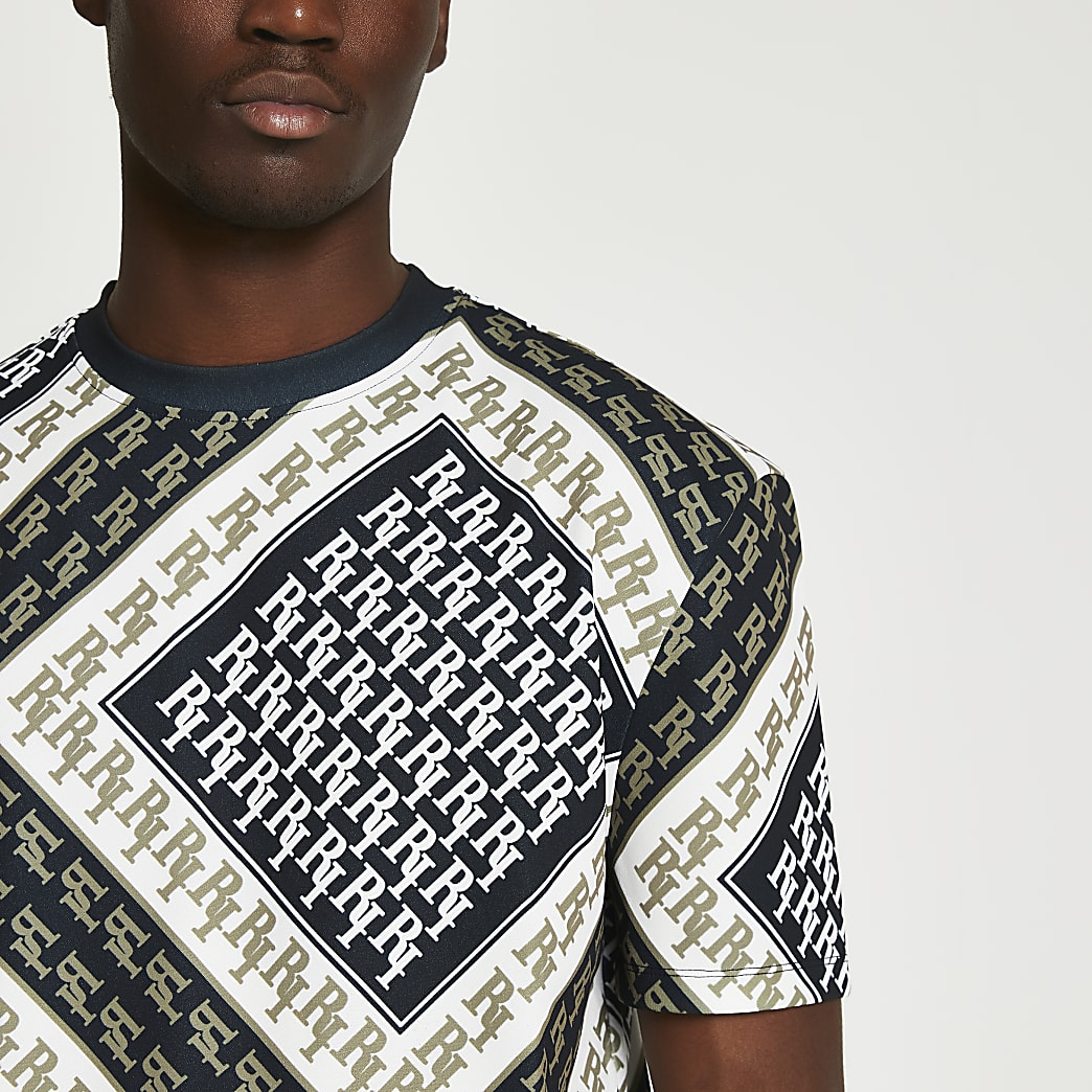 Black RI monogram crew neck t-shirt