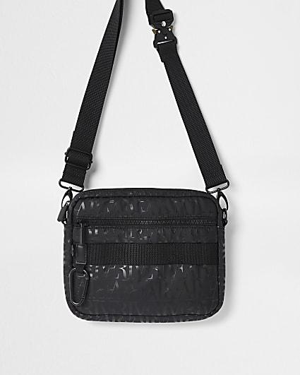 Black RI monogram cross body bag