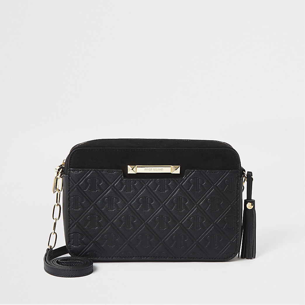 Black RI monogram cross body handbag