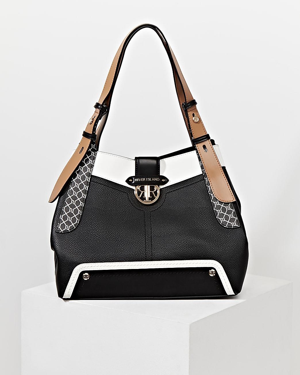 Black RI monogram detail slouch bag