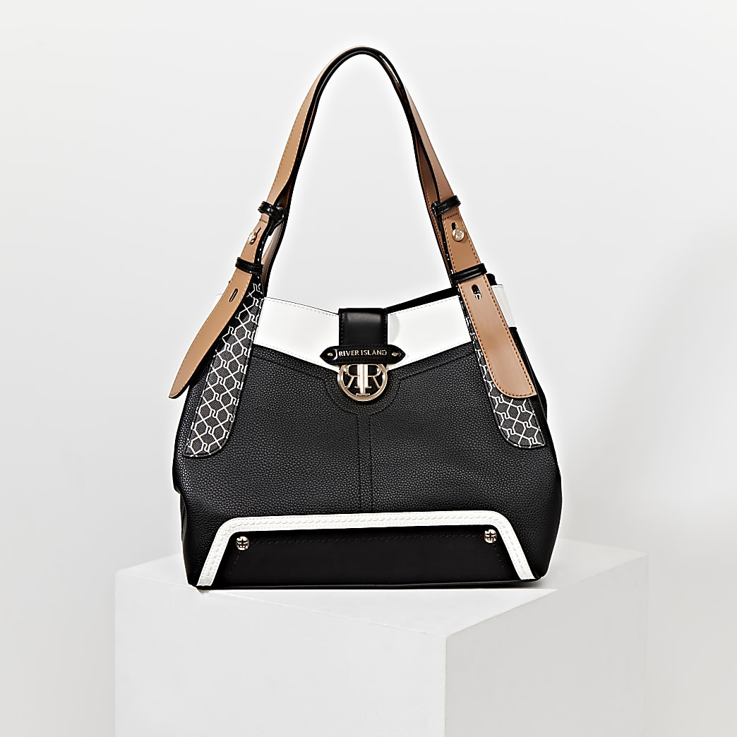 Black RI monogram detail slouch bag