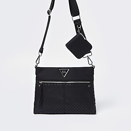 Black RI monogram double messenger bag