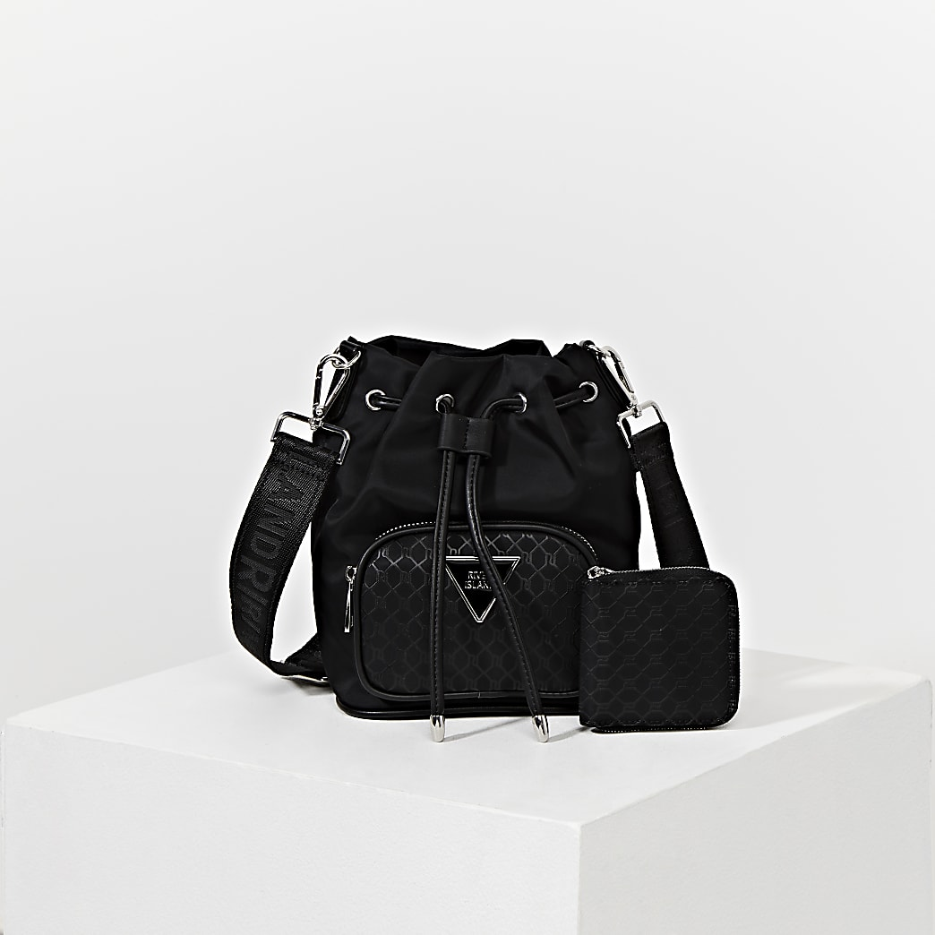Black RI monogram duffle bag with mini pouch