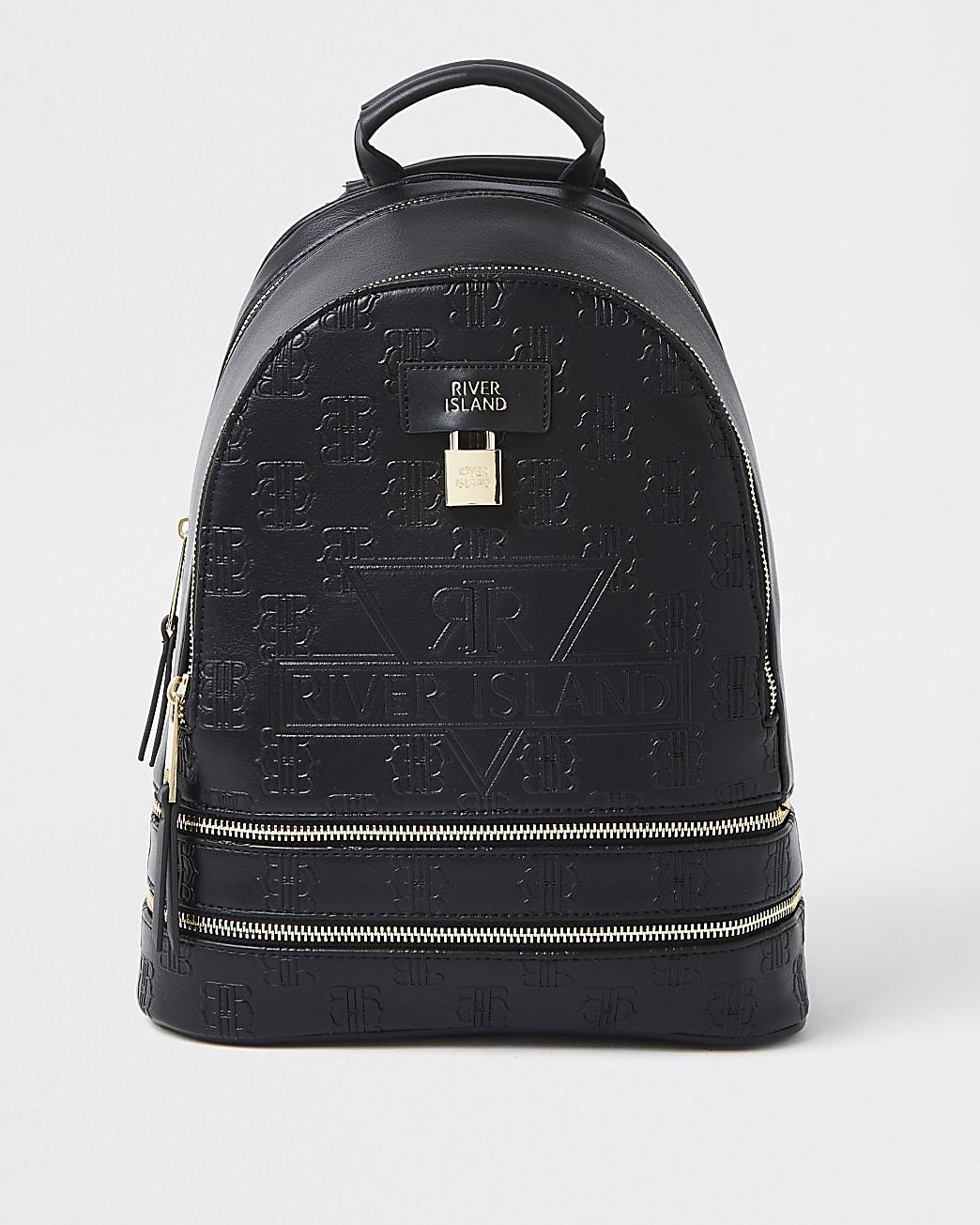 Black RI monogram embossed backpack